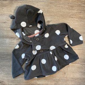 Fleece polka dot baby coat